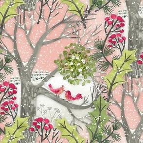 Christmas Mistletoe Kiss Birds Landscape / Small Scale