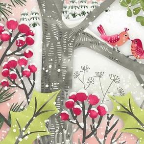 Christmas Mistletoe Kiss Birds Landscape