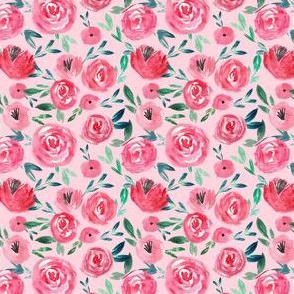 Watercolor Red Rose Garden Florals - soft pink