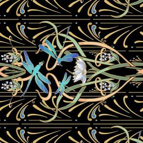 Art Nouveau Dragonflies | Small | Horizontal | Black