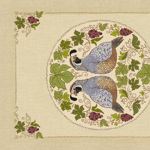 Linen/ cotton tea towel QUAIL decorative