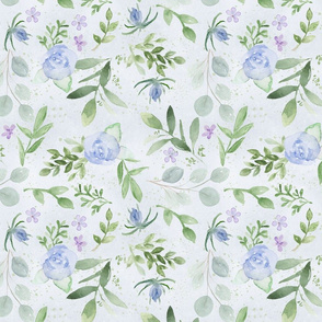 Watercolor blue and lavender botanicals