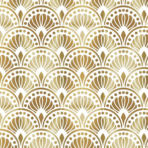 Gold and White Art Deco Pattern Large
