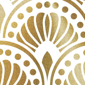 Gold and White Art Deco Pattern xxl