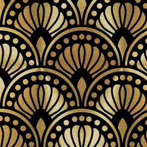 Gold and Black Art Deco Pattern XL