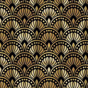Gold and Black  Art Deco Pattern Large