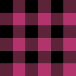 """3"""" buffalo check - lipstick pink and black"""