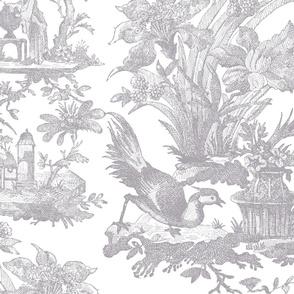 Chinoiserie Toile ~ Joseph Grey and White