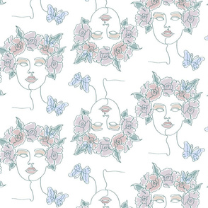 One Line Floral Woman