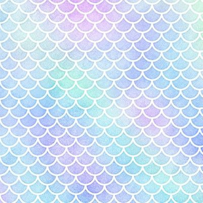 """Small """"Marbled Unicorn"""" Watercolor Mermaid Scales in White"""