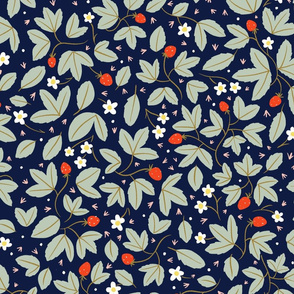 strawberries on navy large