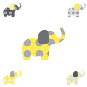 Large Elephant  - Yellow and Gray