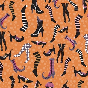 Halloween witch shoes stockings pattern
