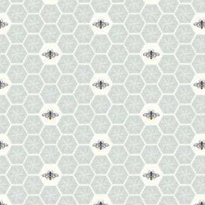Stitched Bees & Honeycomb - Light Blue - Small