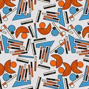 Midcentury Geometric Abstract in Blue, Rust and Gray - Large