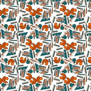 Midcentury Geometric Abstract in Teal, Rust and White - Small