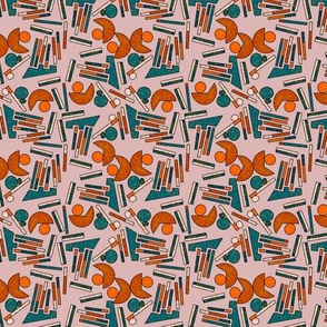 Midcentury Geometric Abstract in Teal, Rust and Mauve - Small