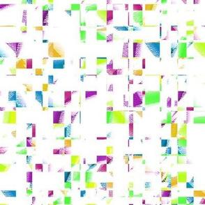 Medium - Mardi Gras Confetti Checks in Purple -  Aqua - Green - Gold on White Background