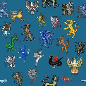Heraldic Animals Straight Large blue gray