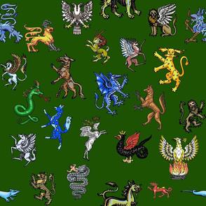 Heraldic Animals Straight Large green