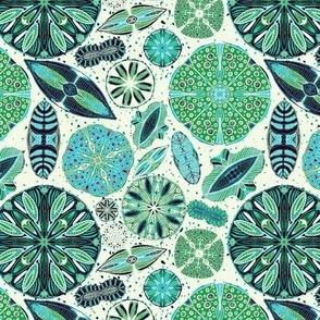 Microscopic Diatoms, blue green, 6 inch