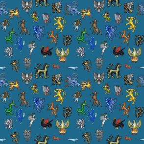 Heraldic Animals Straight small blue gray