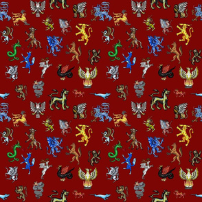 Heraldic Animals Straight small deep red
