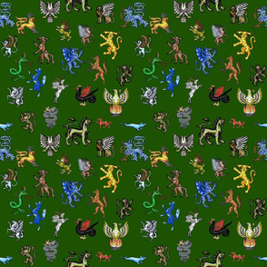 Heraldic Animals Straight small green