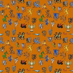 Heraldic Animals Straight small orange