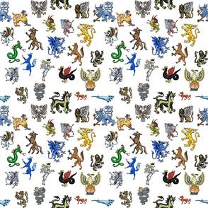 Heraldic Animals Straight small white