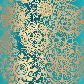 Teal Green and Gold Mandala Pattern