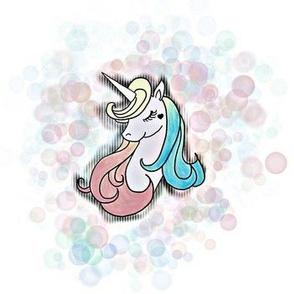 Unicorn With Bubbles on White Large