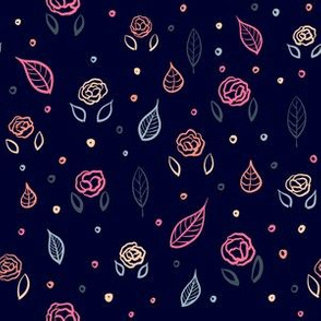 Rose and Leaf Pattern - Navy