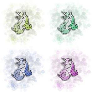 Rainbow Unicorns with Bubbles