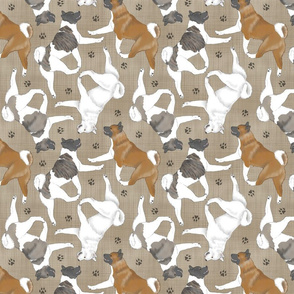 Trotting Akitas and paw prints - faux linen