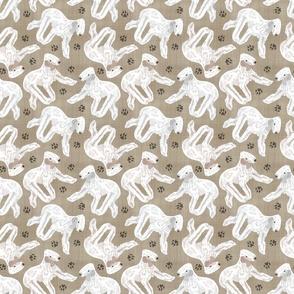 Trotting Bedlington Terriers and paw prints - faux linen