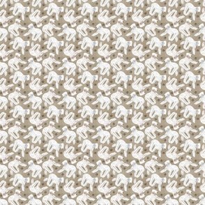 Tiny Trotting Bedlington Terriers and paw prints - faux linen