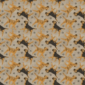 Trotting Border Terriers and paw prints - faux linen