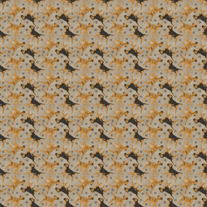 Tiny Trotting Border Terriers and paw prints - faux linen