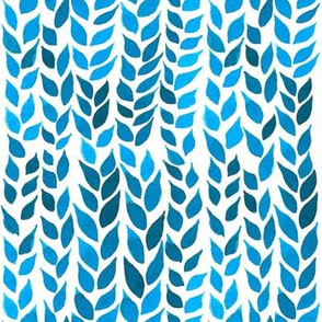 Watercolor Leaves - Bright Blue