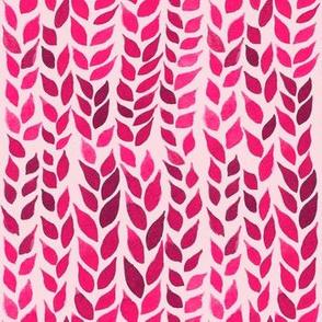 Watercolor Leaves - Hot Pink 2