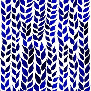 Watercolor Leaves - Navy and Royal Blue