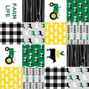 farm life - wholecloth green, custom yellow, and black - woodgrain (90) V2 C20BS