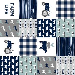 farm life - farm fabric wholecloth navy and dusty blue with woodgrain &  plaid (90) V2 C20BS