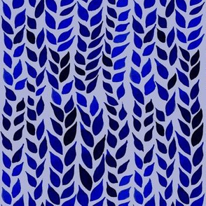 Watercolor Leaves - Navy and Royal Blue 2