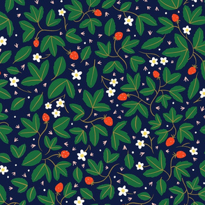 strawberries on navy - green