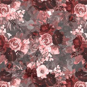 "16"" Blush Dark Rose Floral on Gray"