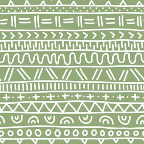 Sketched Tribal Stripes White on Rustic Green