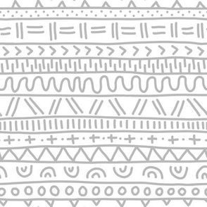 Sketched Tribal Stripes Silver on White