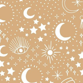 Mystic Universe party sun moon phase and stars sweet dreams pastel ochre yellow mustard cinnamon white LARGE